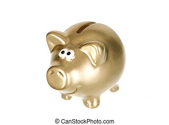 dorado, dinero, caja, cerdo, ahorros