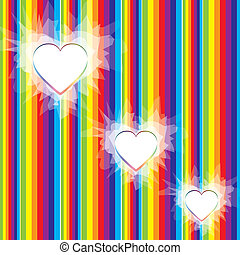Valentine rainbow background with hearts, vector illustration EPS 10.0