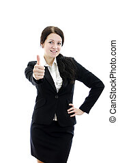 Portrait of a young attractive business woman with thumbs up gesture. Isolated on white.
