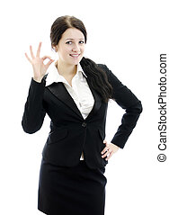Portrait of business woman gesturing okay sign. Isolated on white.