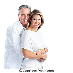 Happy elderly couple - Happy senior couple in love Isolated...