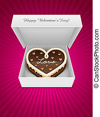 open box with chocolate cake in heart form