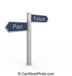 Past or future. 3d isolated on white