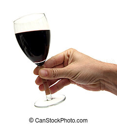 chin chin - hand holding a glass of red wine over white