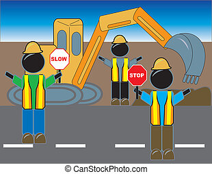 Road Construction Crew - simple drawing of road construction...
