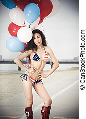USA Bikini - Beautiful model wearing the United States flag...