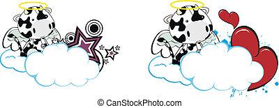 cow kid cartoon angel