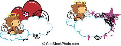 bull kid cartoon angel in vector format