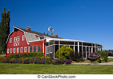 Red Barn with Solarium - Red barn with an attached sunroom...