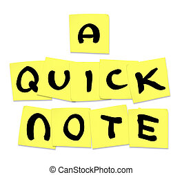 Quick Note Words on Sticky Notes - Advice Tip - The words...