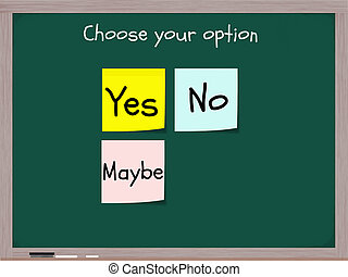 Yes No Maybe Options - A chalkboard concept with the...
