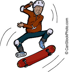 Senior Citizen Skateboarder - Latino senior citizen does...