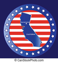 California state map - California state seal stamp usa