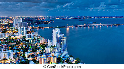 Aerial View of Biscayne Bay at Night - Aerial view of...