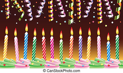 vector row of birthday candles