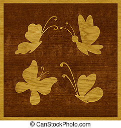 Butterflies of wood veneer - Marquetry, butterflies of ash...