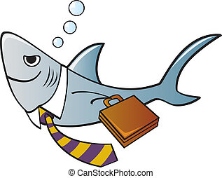Business Shark - A shark dressed as a businessman with a tie...
