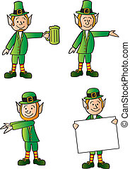 Four Leprechauns - Four cartoon leprechauns in various...