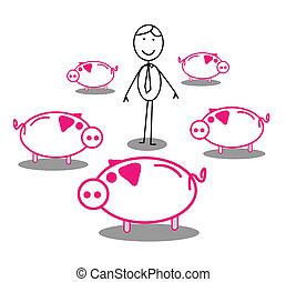 piggy bank Around Businessman