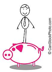 Happy Businessman & piggybank