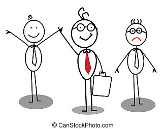 Happy and Unhappy Businessman