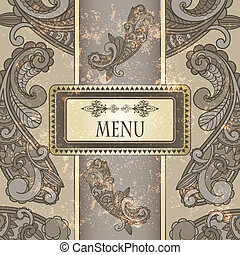 vector menu with paisley pattern and place for your text on  grungy background