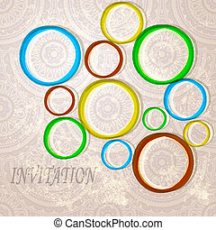 eps 10, vector invitation with  bright circles on eastern  seamless background