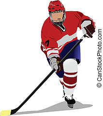 Ice hockey player. Colored Vector