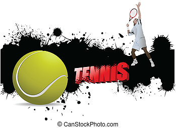 Grunge tennis poster with tennis ball and player Vector...