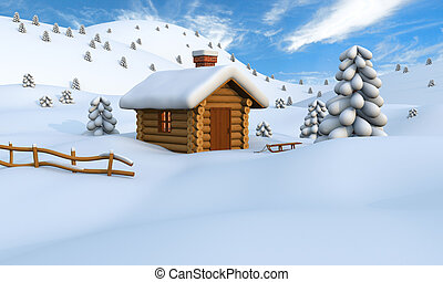 Winter log cabin - 3D illustration of a cute little wooden...