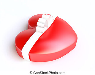 Red Gift Boxe in shape of Heart - 3D Heart form gift-box wth...
