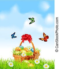 Easter background with basket full - Easter background with...