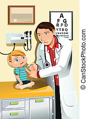 Pediatrician with child - A vector illustration of a...