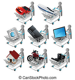 Shopping - A vector illustration of people shopping big...