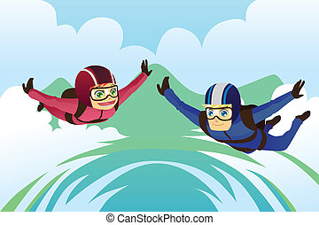 Skydiving - A vector illustration of a skydiving couple