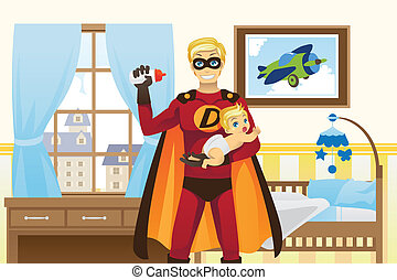 Father and baby boy - A vector illustration of a father...