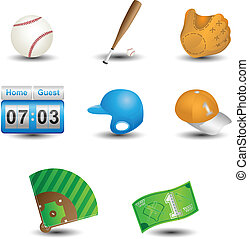 Baseball icons - A vector illustration of a set of baseball...