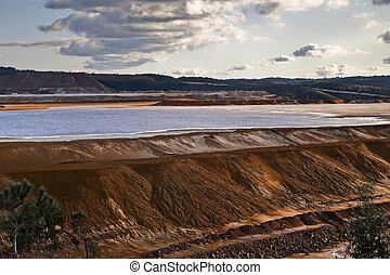 Dam copper mine waste in Riotinto, Spain