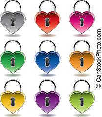 vector colorful metal padlocks