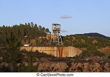 winch of an old copper mine shaft in Riotinto, Spain