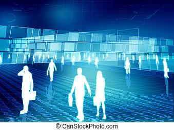 Conceptual image of people doing activity and budiness in virtual world of internet