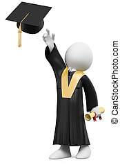 3D student dressed in cap and gown on graduation day...