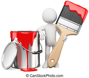 3D artist posing with a can of red paint and paintbrush....