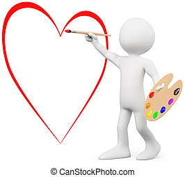 3D lover painting a heart on a wall. Rendered at high...
