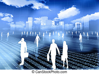 Virtual Busines World - Conceptual image of people doing...