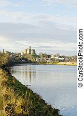 aln, zamek, Rzeka,  Warkworth