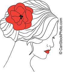 Woman with flower in hair - Woman with red poppy in hair and...