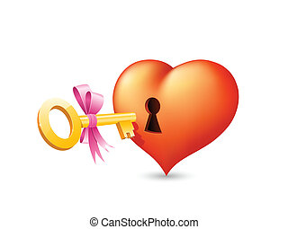 Heart with keyhole and key