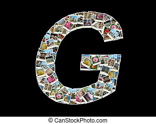 quot;Gquot; letter made of travel photos - Shape of G letter...