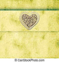 Wedding Invitation - background with heart and ribbon stripe...